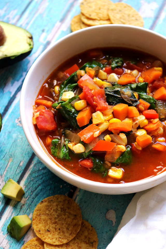 Vegan Sopa Azteca with Red Lentils and Baby Greens